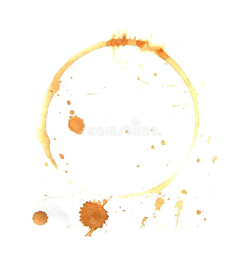 Souillure de café sur un fond blanc images libres de droits