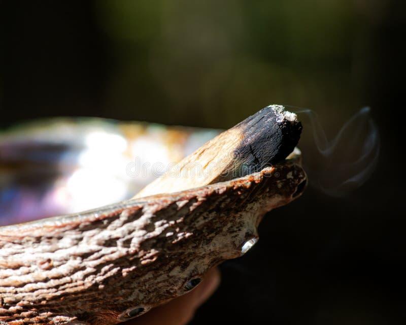 Souillure de la cérémonie utilisant la coquille en bois sainte péruvienne de bâton et d'ormeau d'encens de Palo Santo dans la for photographie stock libre de droits