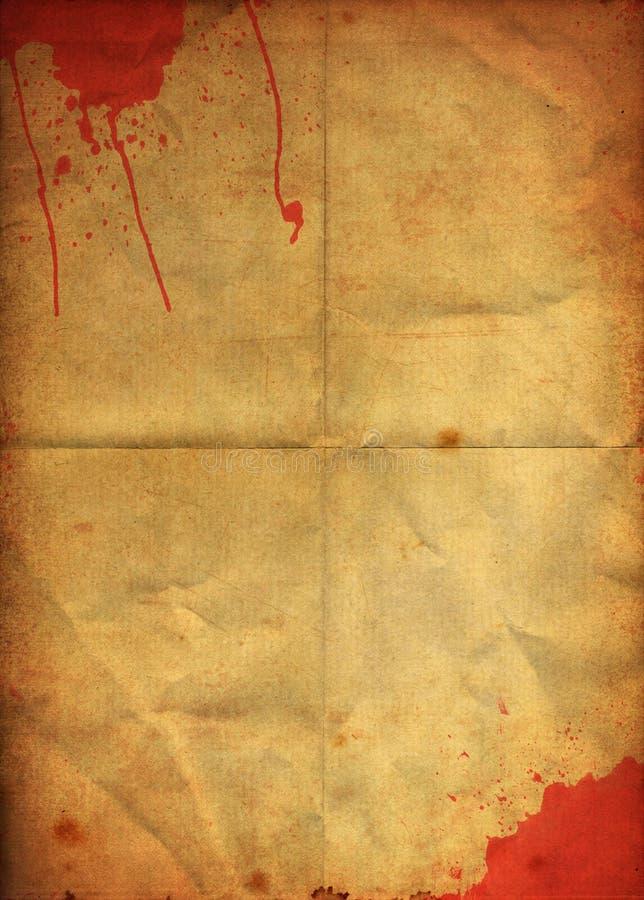 Souillure de sang sur le vieux papier se pliant grunge illustration stock