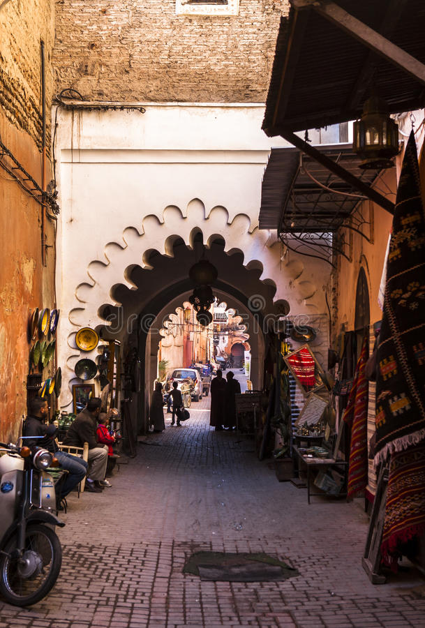 Souk market in Marrakech, Morocco royalty free stock photo