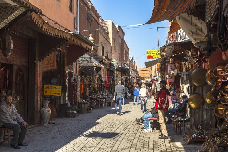 Souk market of Marrakech, Morocco stock images