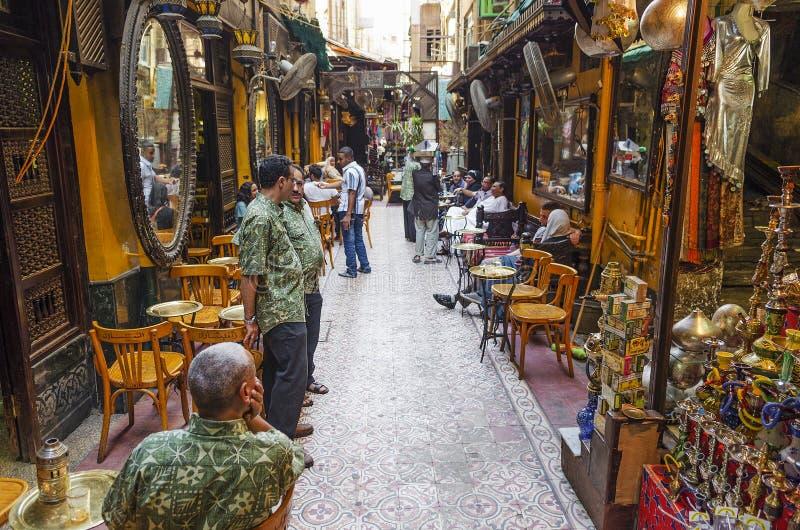 Souk marknadskafé i cairo Egypten arkivbild