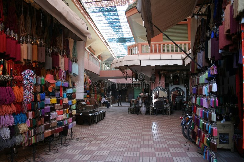 Souk in medina. Inside the souk with souvenir shops in Marrakesh medina (Morocco stock images