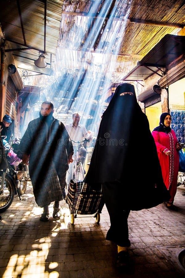 Souk Smarine, Marrakesh arkivfoto
