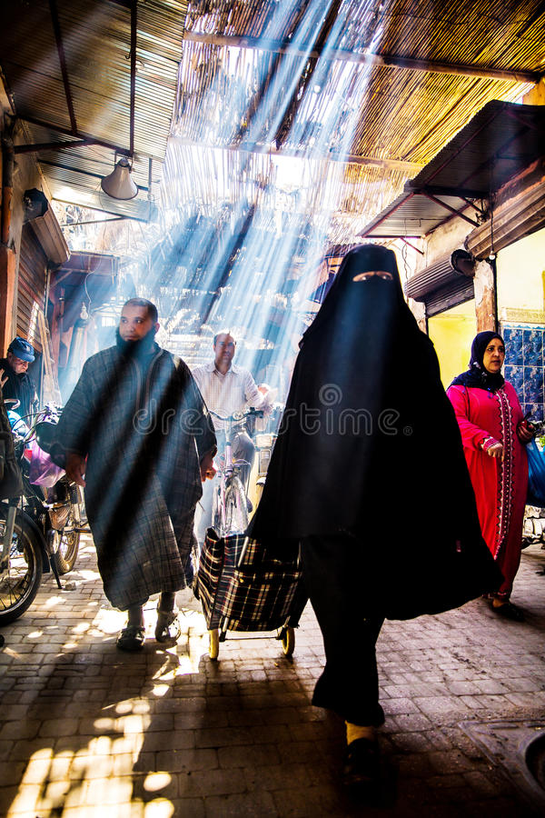 Souk Smarine, Marrakech. Beautiful light and great atmosphere of old historical bazaar Souk Smarine the nearby bazaar to Djemma El Fna Square. Marrakesh Morocco stock photo