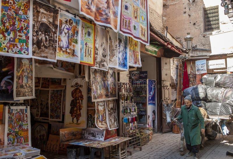 Soukmarkt in Marrakech, Marokko stock foto's