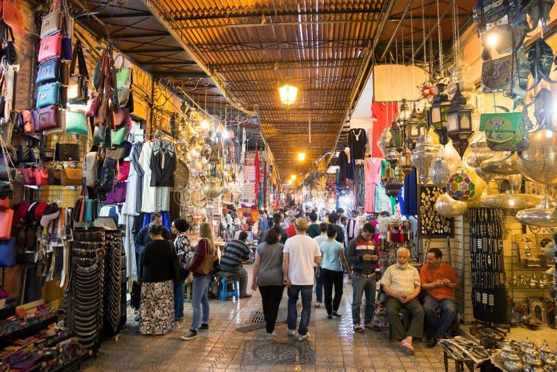 Souks Marrakech Marocko royaltyfri fotografi