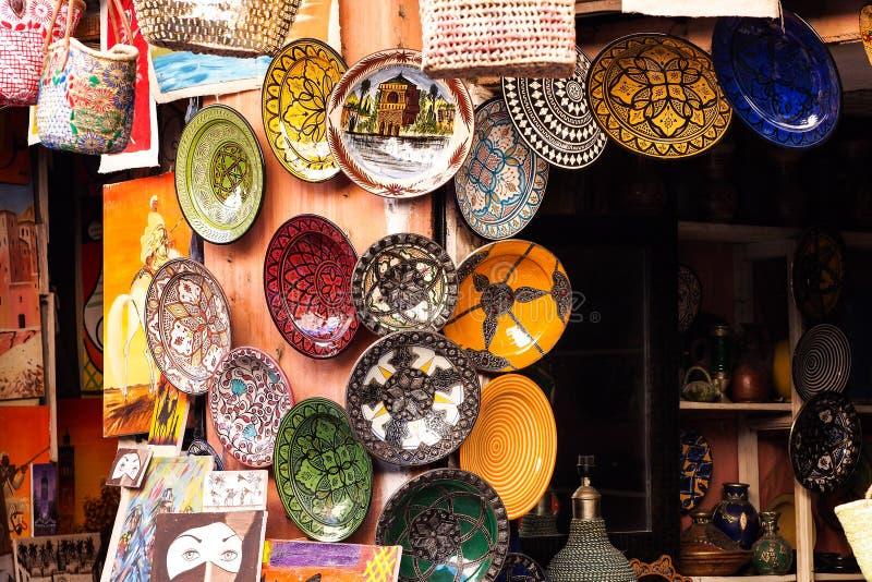 Souksen i Marrakesh, Marocko, Den största traditionella marknaden i Afrika arkivbilder