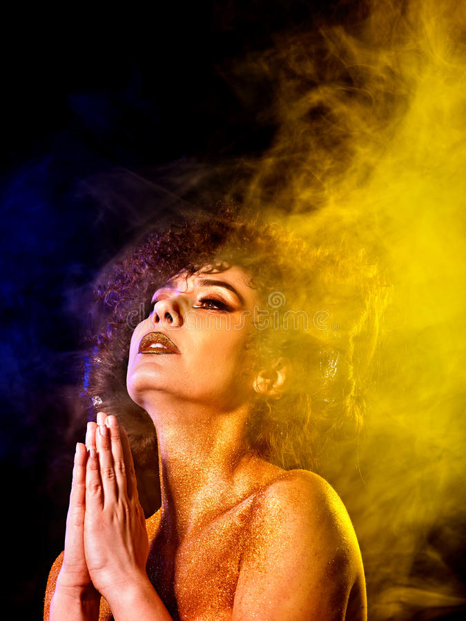 Soul body woman studies esotericism and out-of-body travel. stock images