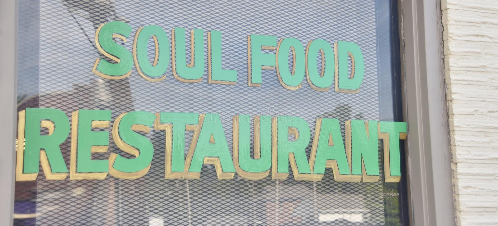 Soul Food Restaurant. S serves Southern favorites and comfort foods such as baked chicken, catfish, turkey wings, turkey legs, cakes, pies, yams, vegetables and royalty free stock photos