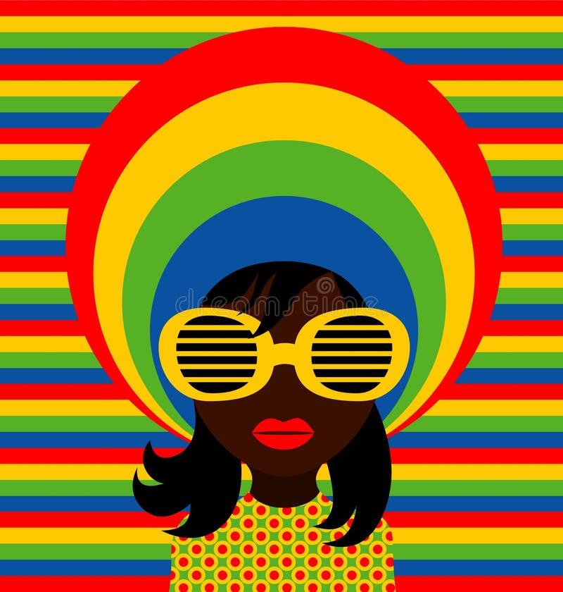 Soul girl. Vector illustration of retro girl wearing sunglasses