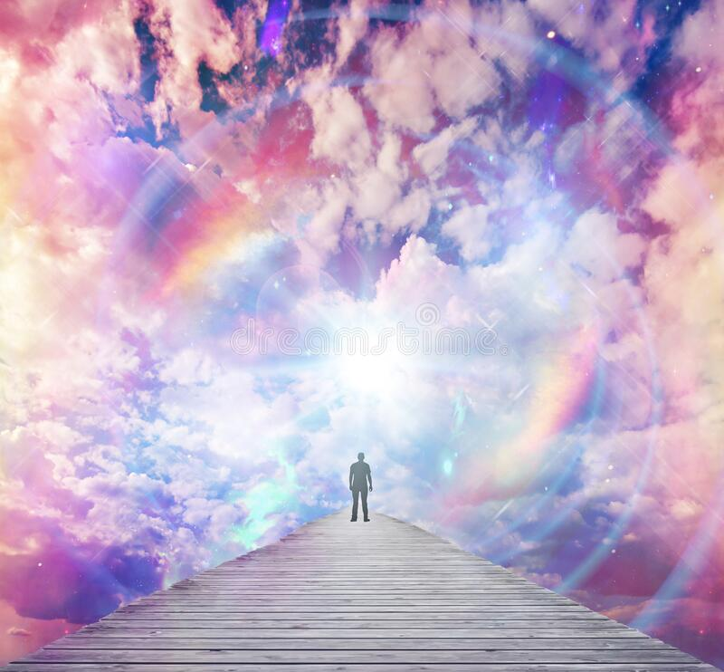 Free Soul Journey, Divine Angelic Guidance, Portal To Another Universe, Light Being, Unity Wallpaper Stock Photo - 197295380