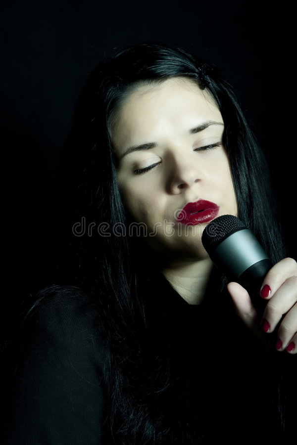 Soul music. Woman singing soul music portrait royalty free stock photos