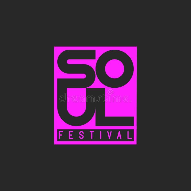 Soul-muziekfestival Muzikale affichemalplaatje het van letters voorzien woordziel Ontwerpelement voor muziekgebeurtenis, overleg  vector illustratie