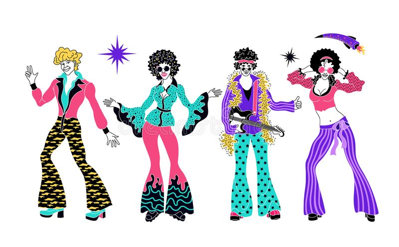 Soul Party Time. Dancers of soul, funk or disco. People in 1980s, eighties style clothes dancing disco set vector illustration