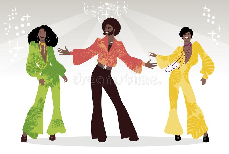 Group Of Man And Two Girls Dancing Soul Funk Or Disco Retro Style