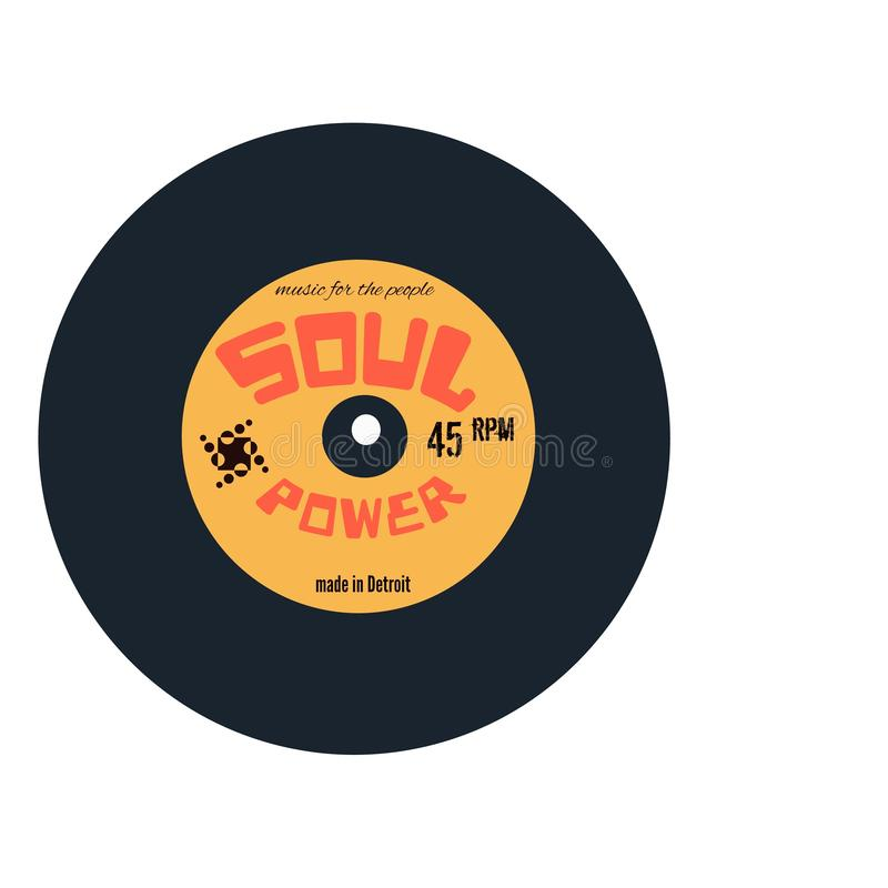 Soul Power vinyl record design logo. A retro vintage style soul music logo,on a vinyl record design.ideal for flyers,funk nights, events,web pages,articles etc vector illustration