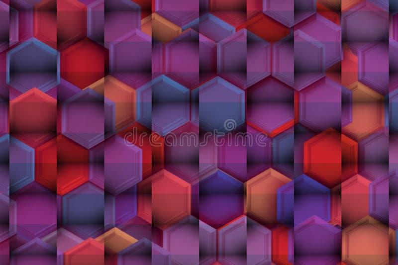 Soulagement 3d doux avec des ombres de coloriste au-dessus des hexagones lumineux illustration stock