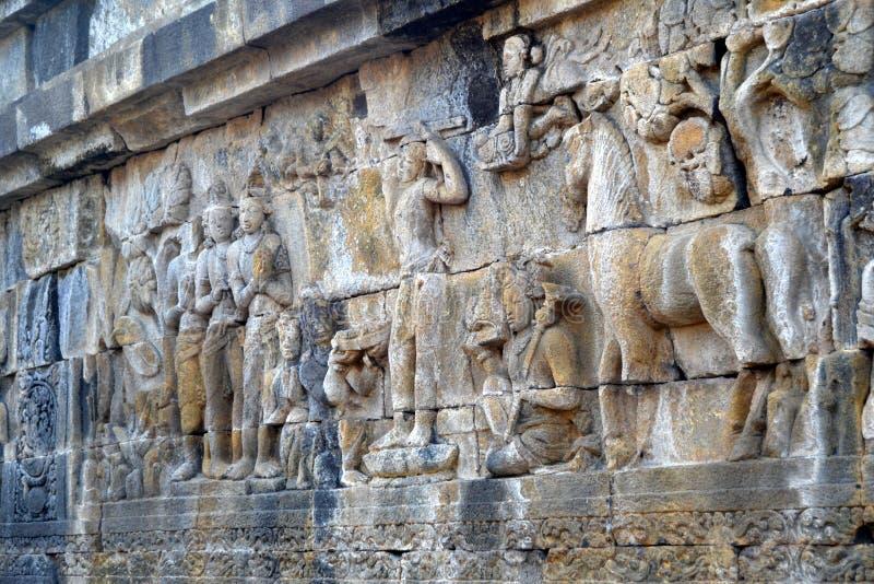 Soulagement dans le temple de Borobudur, Indonésie image libre de droits