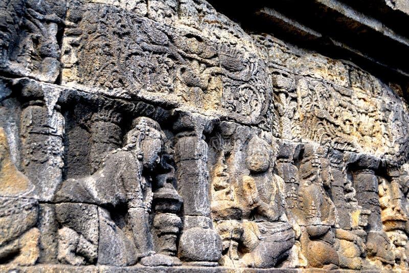 Soulagement dans le temple de Borobudur, Indonésie photographie stock libre de droits