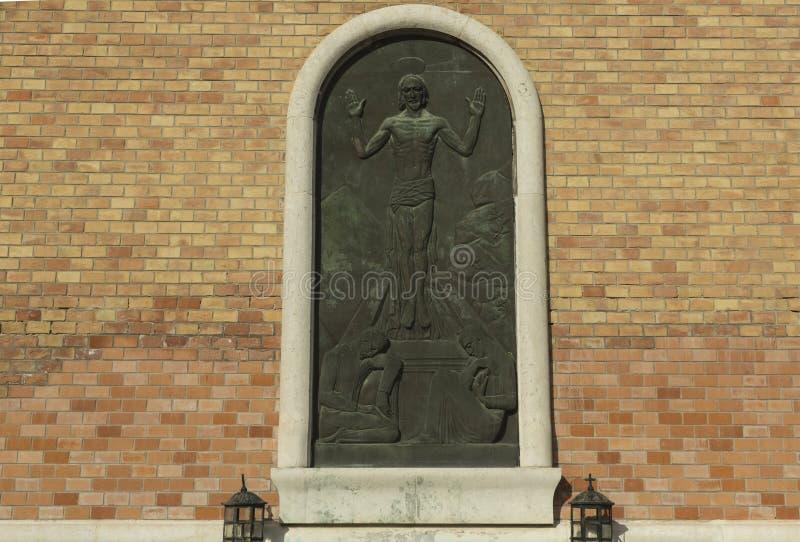 Soulagement de Jésus au vieux mur de briques photos libres de droits