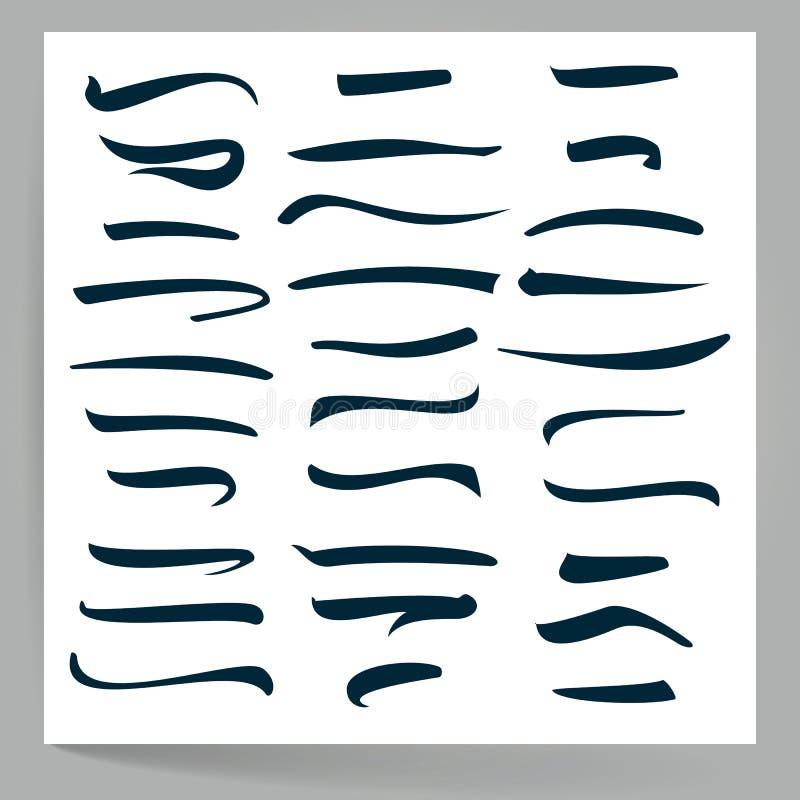 Soulignez l'ensemble de vecteur Lignes faites main de vecteur d'isolement sur le fond blanc Conception de typographie Éléments fa illustration libre de droits
