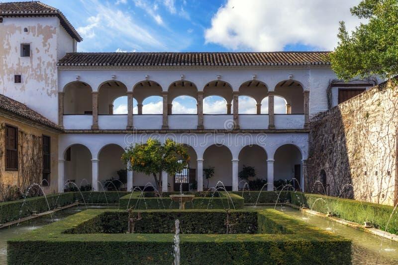 Soultanas Court in Generalife. Soultana´s Court U-shaped pool of water. Generalife in Alhambra, Granada, Spain royalty free stock photo