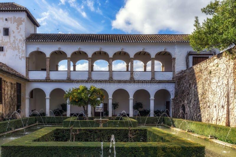 Soultanas Court in Generalife. Soultana´s Court U-shaped pool of water. Generalife in Alhambra, Granada, Spain stock photos