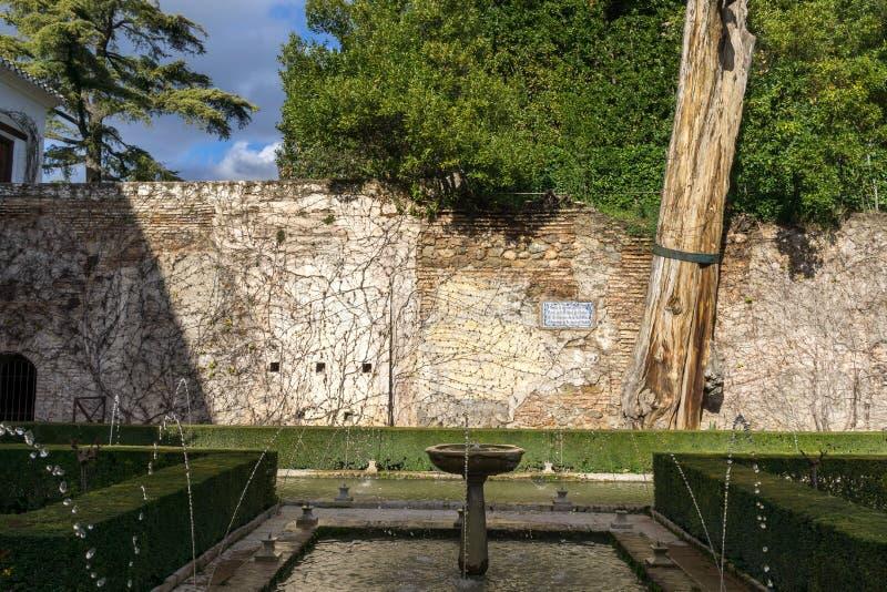 Soultanas Court in Generalife. Soultana´s Court U-shaped pool of water. Generalife in Alhambra, Granada, Spain stock photography