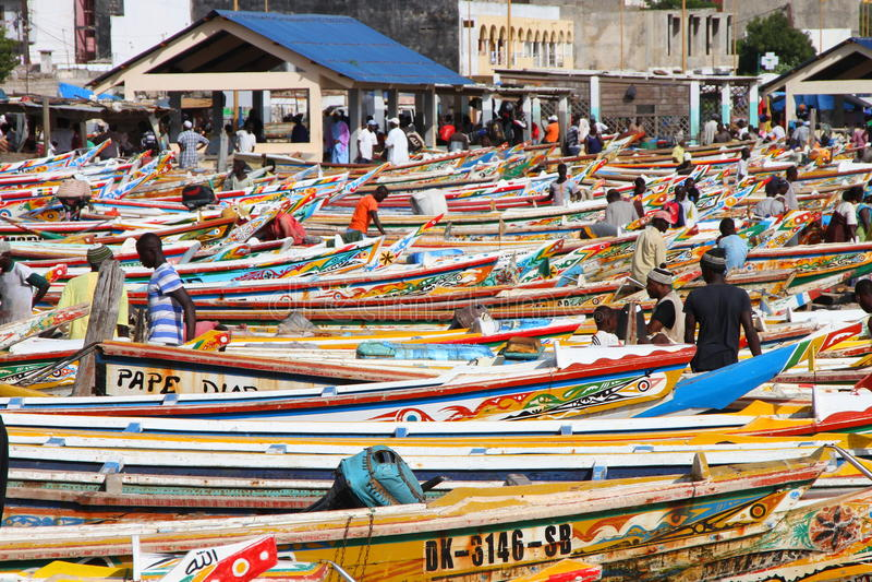 Soumbedioune鱼市在达喀尔,塞内加尔 免版税库存照片