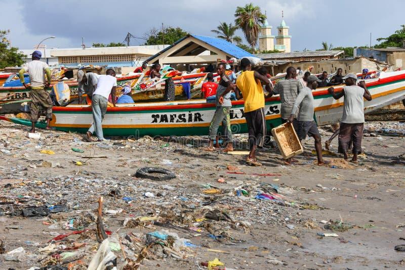 Soumbedioune-Fischmarkt in Dakar, Senegal stockfotografie
