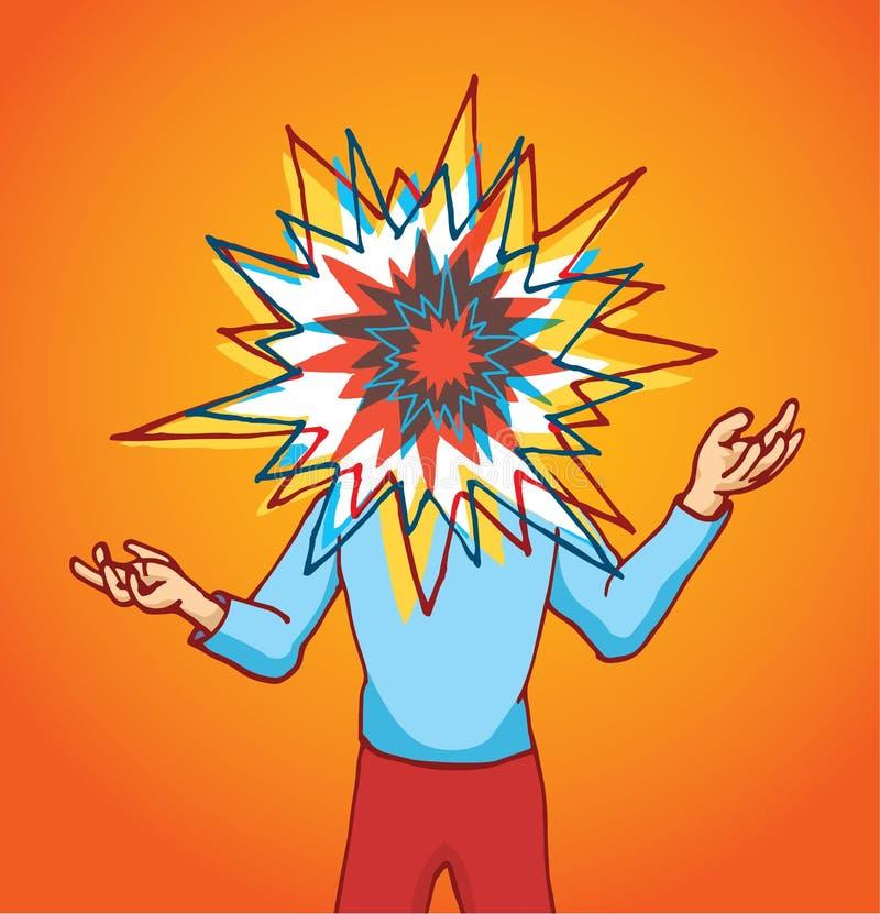 Soumis à une contrainte homme avec la tête de explosion illustration libre de droits