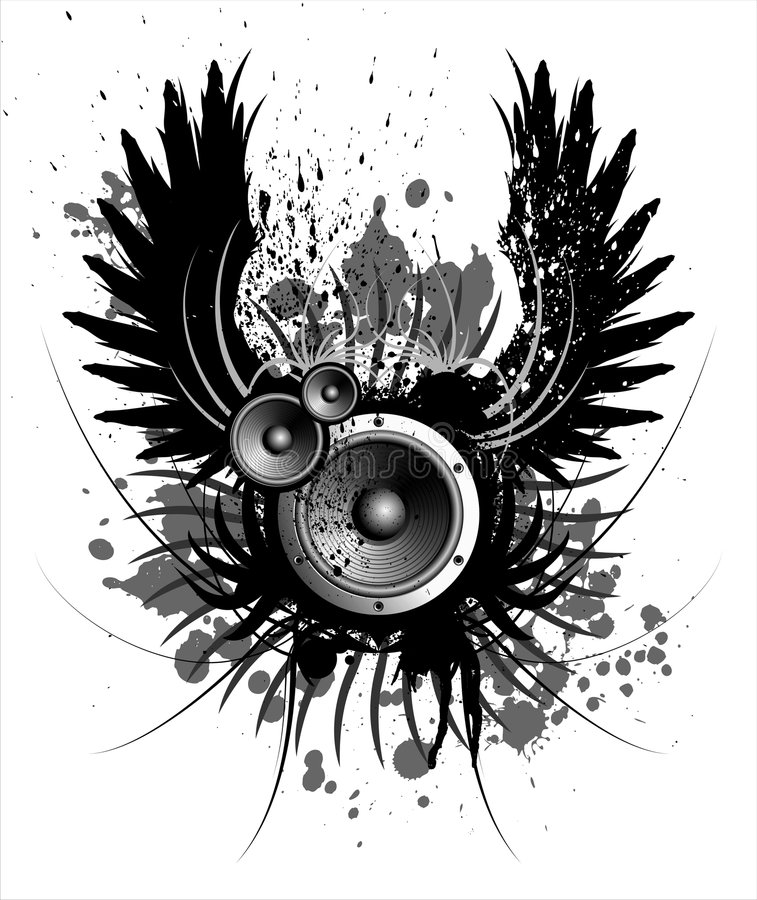 Sound. Music illustration with wing and blot vector illustration