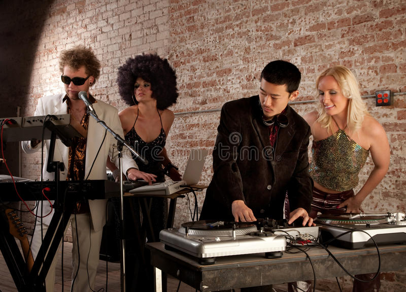 Sound check. At a 1970s Disco Music Party stock photography