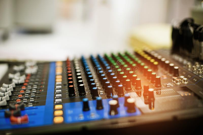 Sound check for concert, mixer control, music engineer, backstage stock photo