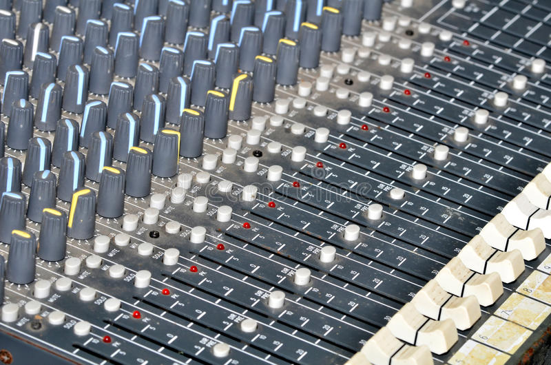 Sound control. Controls of an audio mixing device stock photos