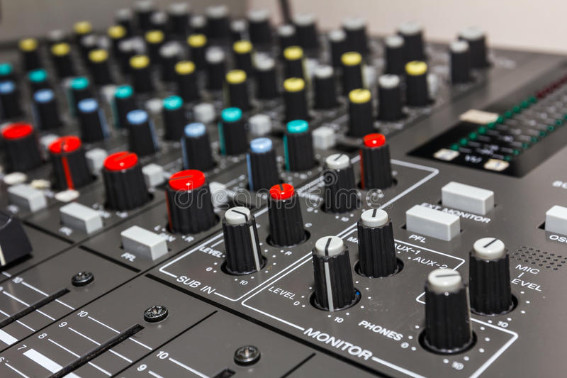 Electronic Sound Board : Sound control board stock image of balance