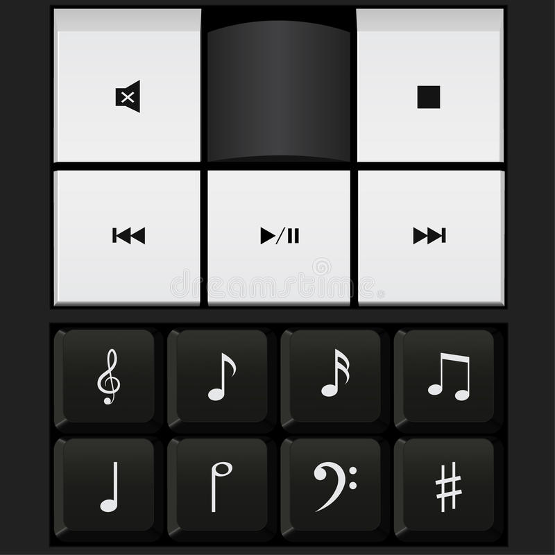 Sound control keyboard and music notes vector. Sound control keyboard , music notes vector royalty free illustration