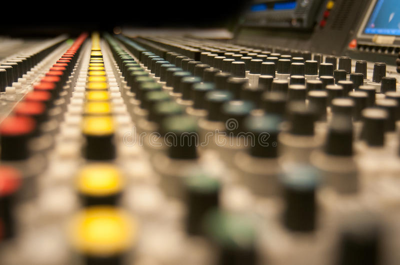 Sound desk buttons stock photography