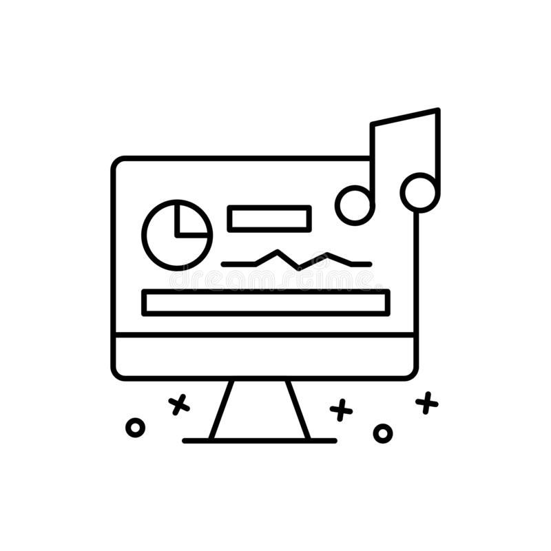 Sound editing, computer, music icon. Element of film Industry icon vector illustration