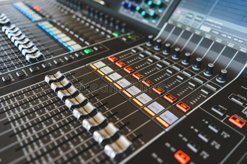 Sound equipment, large mixing console for sound producer. stock photography