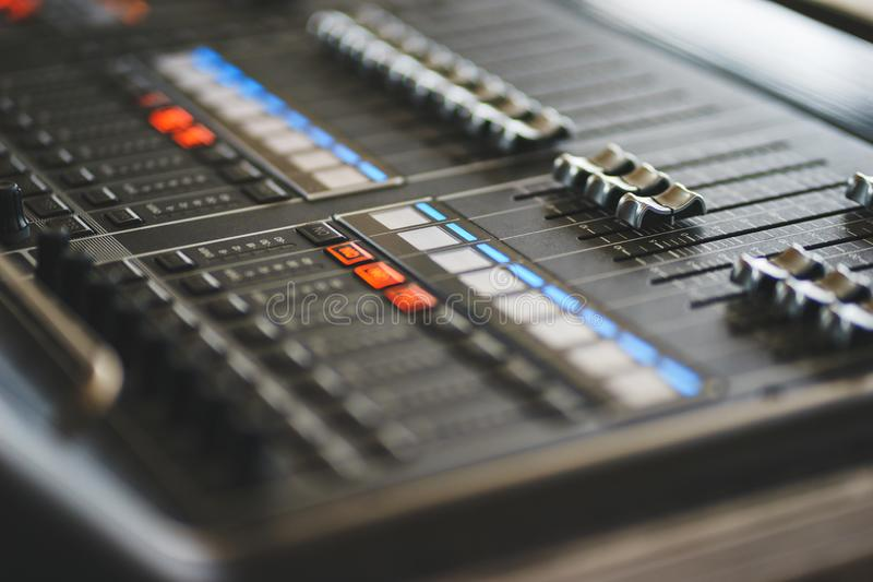 Sound equipment, large mixing console for sound producer. royalty free stock photos