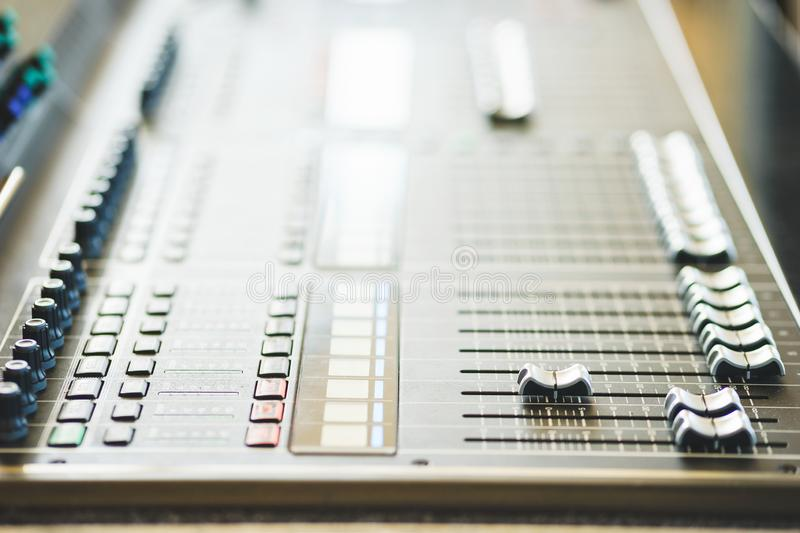 Sound equipment, large mixing console for sound producer. stock photos