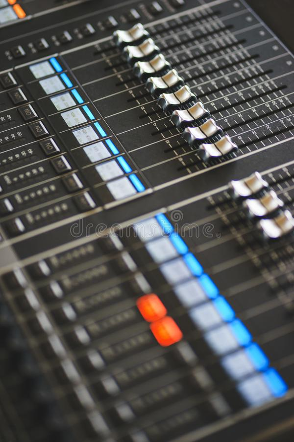 Sound equipment, large mixing console for sound producer. stock images