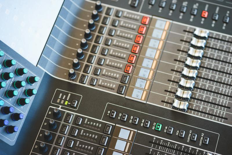 Sound equipment, large mixing console for sound producer. stock image