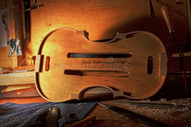Sound factory. Violin salver. Nicola Gagliano 1758. Made in Naples, Italy in 2010. Luthier tool royalty free stock photo