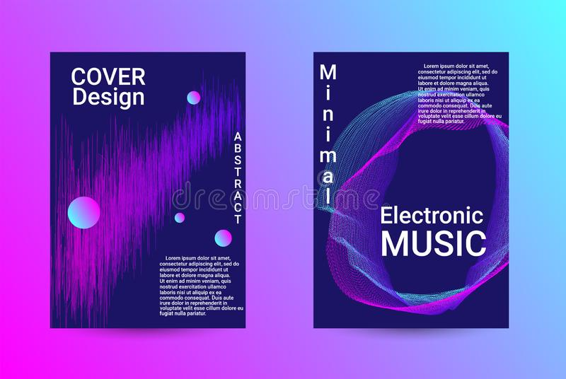 Sound flyer for creating a fashionable cover. Minimum coverage of a vector. A set of modern abstract backgrounds with abstract gradient linear waves. Sound flyer royalty free stock images