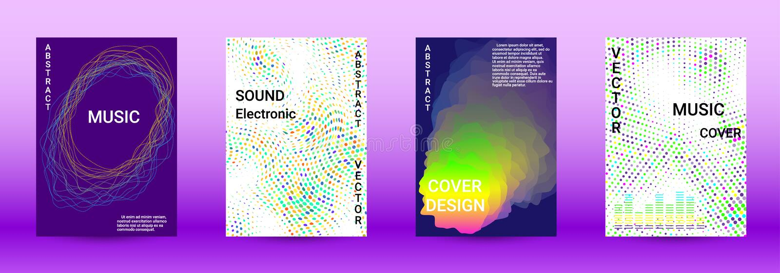 Sound flyer. Minimum coverage of the vector. Cover design. Set of modern abstract musical backgrounds. Sound flyer for creating a fashionable abstract cover stock photo