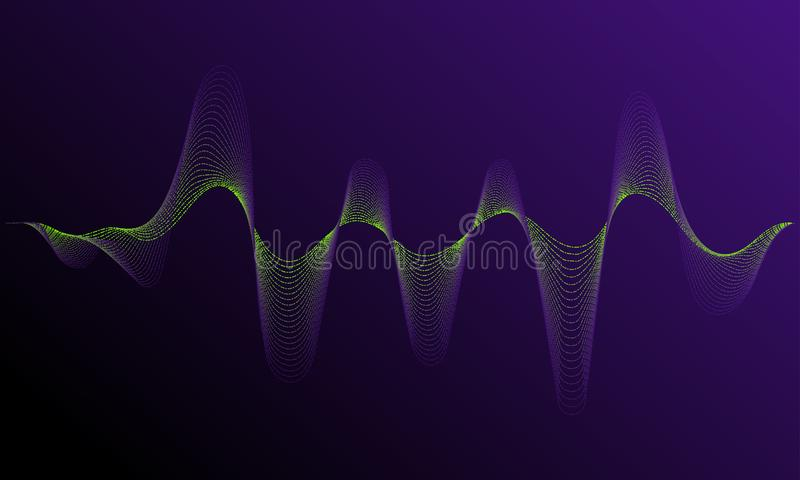 Sound frequency waveform. Dynamic light flow with neon light effect. Digital equalizer sound wave vector illustration. Music neon background. Illuminated vector illustration