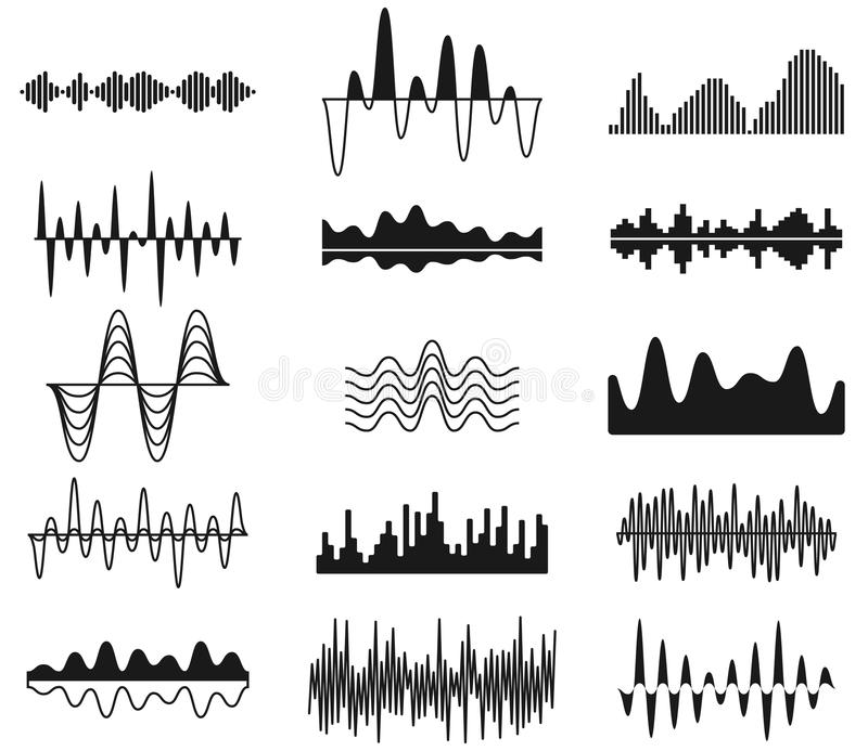 Sound frequency waves. Analog curved signal symbols. Audio track music equalizer forms, soundwaves signals vector set royalty free illustration